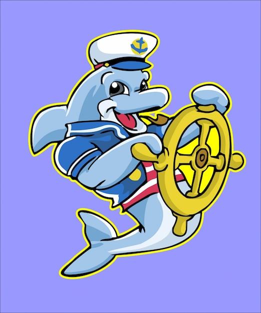 Seemann-delphin-maskottchen greifen schiffsrad Premium Vektoren