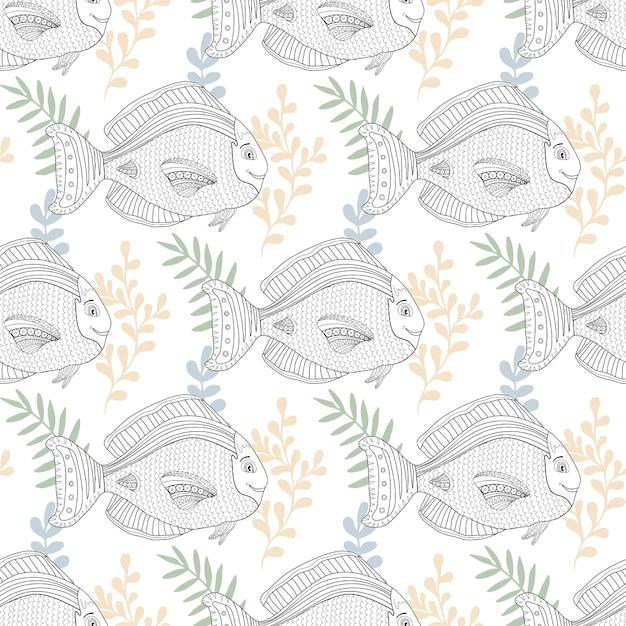 Seemuster mit Fischcharakter für Gewebe- oder Farbtonseitendesign ...