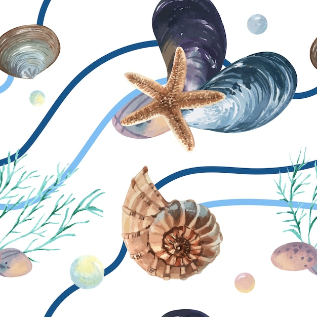 Seeoberteilmeeresflora und -fauna-muster nahtlos, reiseferiensommerzeit auf dem strand Kostenlosen Vektoren