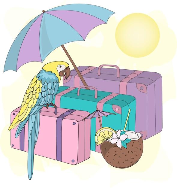 Seereise-clipart-farbvektor-illustrations-satz Premium Vektoren