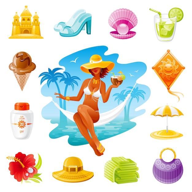 Seereisen-karikaturikonen. sommerferien stellten mit schönem mädchen, sonnencreme, tasche, saft, strohhut, strandschirm ein. Premium Vektoren