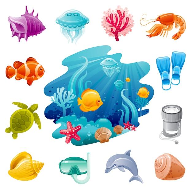Seereisen-karikaturikonen. unterwassertauchen mit quallen, muscheln, delfinen, schildkröten, korallen und clownfischen. Premium Vektoren