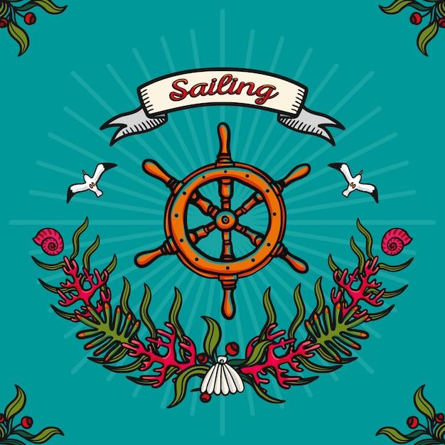 Seereisen und segeln. von hand gezeichnetes vektorbild auf einem blauen hintergrund Premium Vektoren