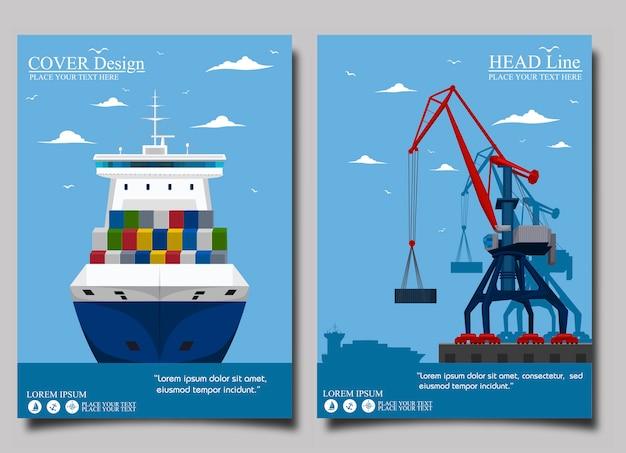 Seeschifffahrtsbanner mit hafenkran. Premium Vektoren