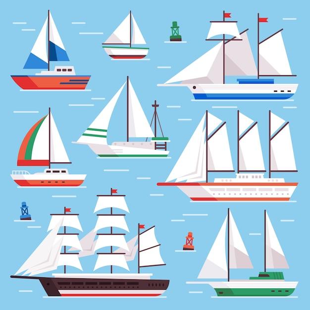 Segelboot eingestellt Premium Vektoren