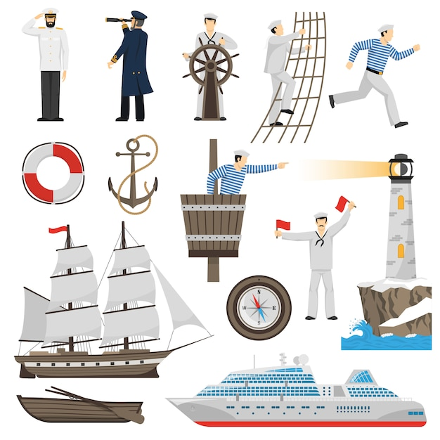 Segelboot schiff attribute icons set Kostenlosen Vektoren