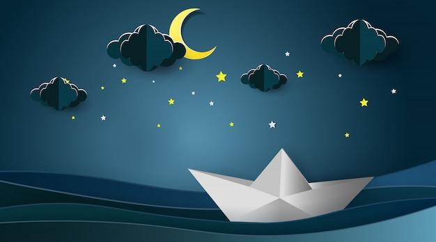 Segelboote auf der ozeanlandschaft mit mond und sternen Premium Vektoren