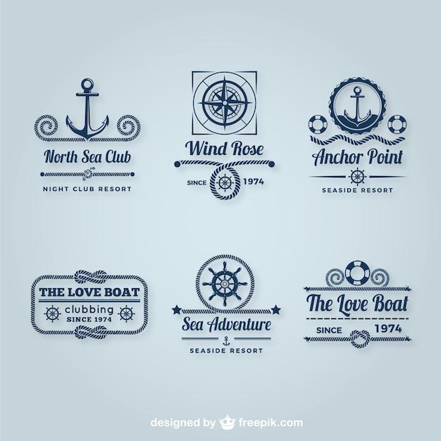 Segeln logos pack Kostenlosen Vektoren