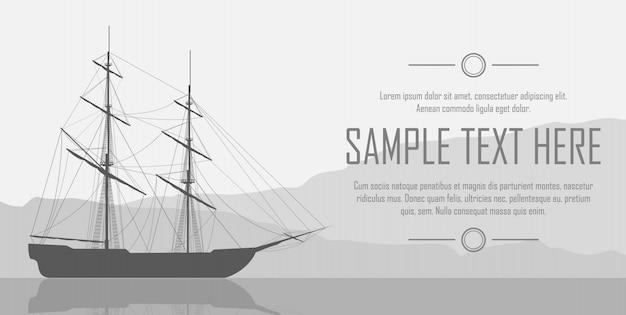 Segelschiff über riesige berge Premium Vektoren
