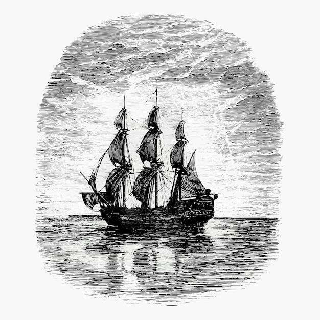 Segelschiff vintage zeichnung Kostenlosen Vektoren