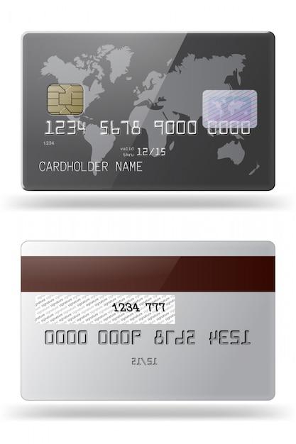 Sehr detaillierte, glänzende kreditkarte. vorder- und rückseite. Premium Vektoren