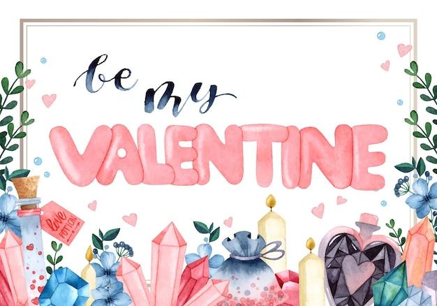 Seien sie meine valentinstagrahmenaquarell-einladungskarte Premium Vektoren