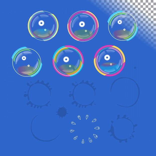 Seifenblasen mit transparenz Premium Vektoren