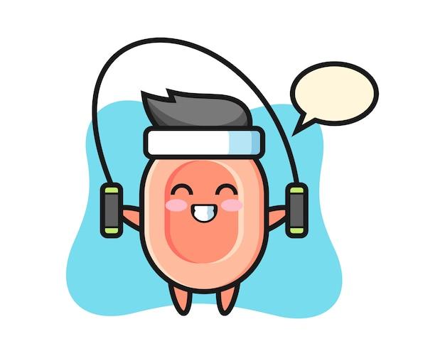 Seifencharakter-karikatur mit springseil, niedlicher stil für t-shirt, aufkleber, logoelement Premium Vektoren