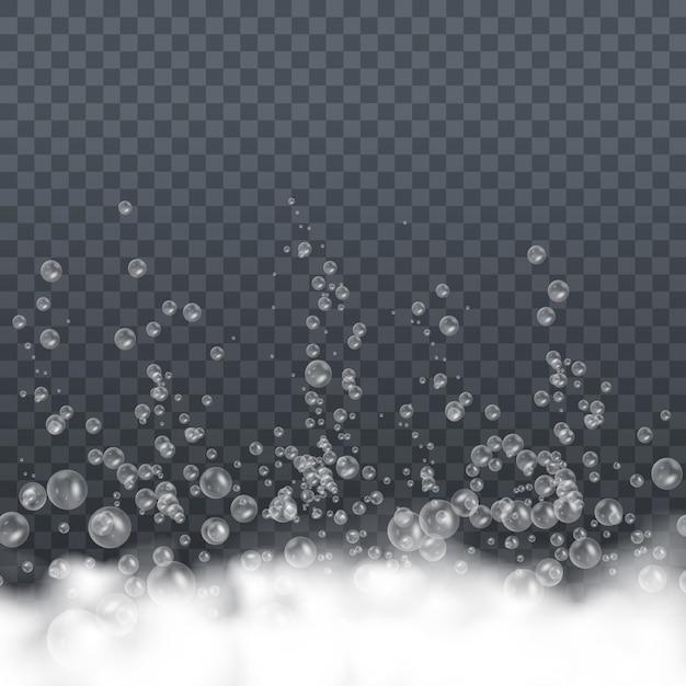 Seifenschaum mit blasen isoliert auf transparentem hintergrund. symbol der reinheit. bad wäsche weiße blasen, shampoo seife sauber sprudelnde glänzende waschmittel. abbildung, eps 10. Premium Vektoren