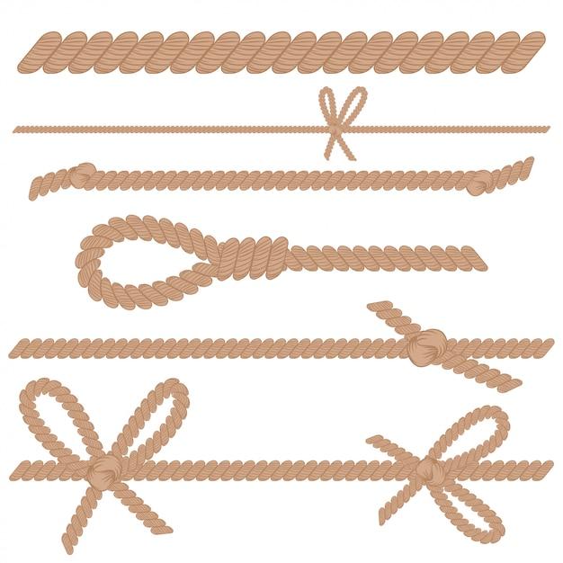 Seil, schnur, schnur mit knoten, bögen und schleifenkarikatursatz lokalisiert auf einem weißen hintergrund. Premium Vektoren