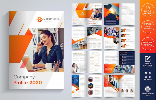 Seiten firmenprofil broschüre Premium Vektoren