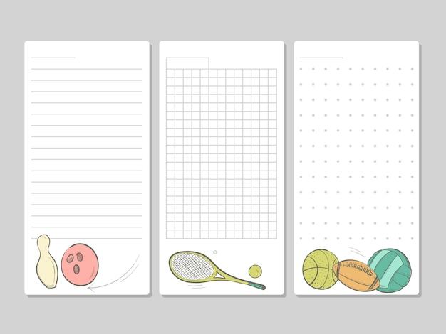 Seiten für notizen, memos oder aufgabenlisten mit doodle-sportgeräten Premium Vektoren