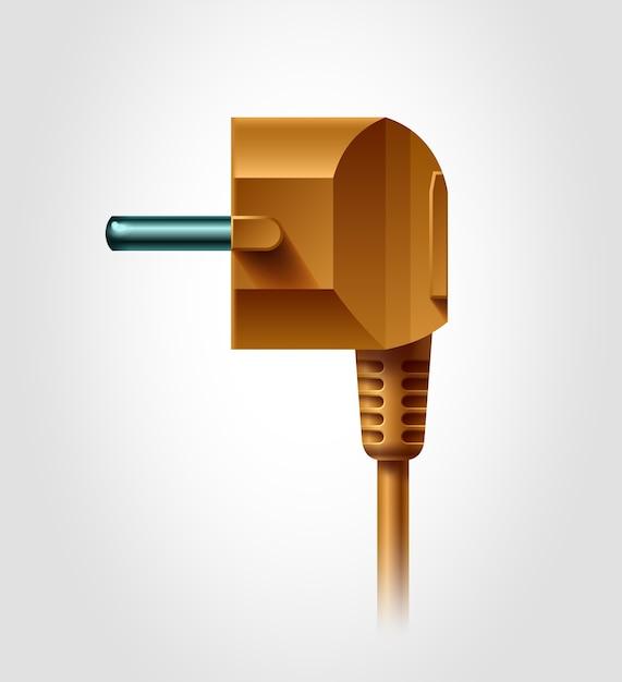 Seitenansicht des elektrischen steckers, realistisches objekt, Premium Vektoren