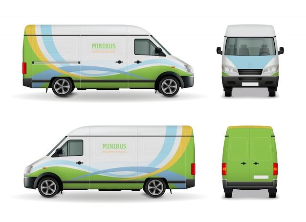 Seitenansicht, front und rückseite des realistischen fracht-van-werbungsschablonen-designmodells auf weißer hintergrundvektorillustration Premium Vektoren