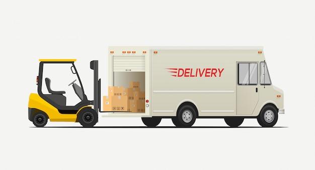 Seitenansicht gabelstapler ladekästen zum lieferwagen. auf weißem hintergrund isoliert. logistik versandkonzept. Premium Vektoren