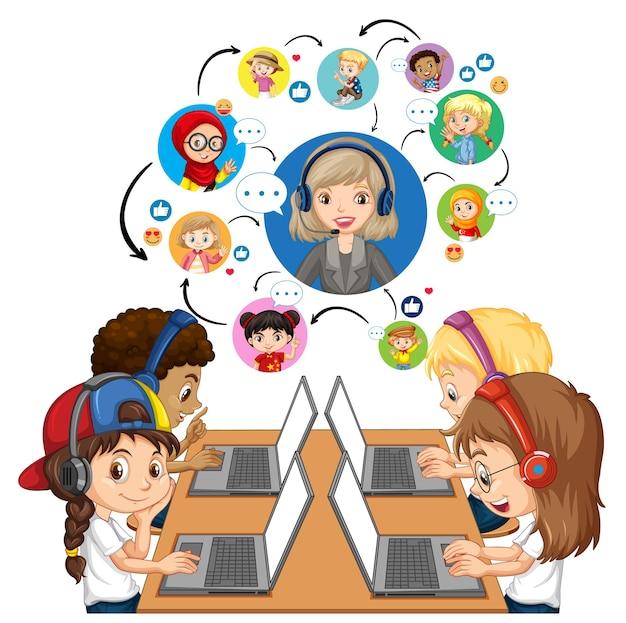 Seitenansicht von kindern, die laptop verwenden, um videokonferenz mit lehrer und freunden zu kommunizieren Kostenlosen Vektoren