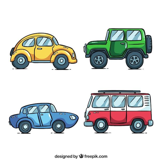 Seitenansicht von vier verschiedenen autos Kostenlosen Vektoren