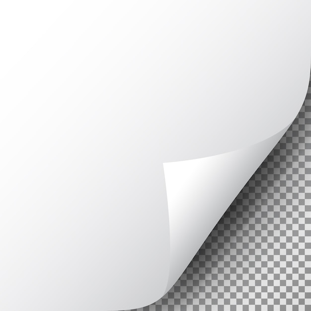 Seitenecke auf transparentem blatt papier. realistische gekräuselte ecke des papiers mit schatten. Premium Vektoren