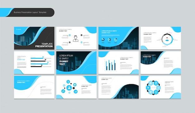 Seitenlayout-design für präsentationsbroschüre, buch, geschäftsbericht und firmenprofil Premium Vektoren