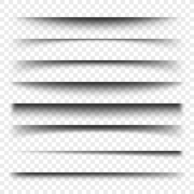 Seitenteiler mit transparenten schatten isoliert. seitentrennungsvektorsatz. transparente realistische abbildung des schattens Premium Vektoren