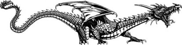 Seitliche mythischen drachen tier Kostenlosen Vektoren