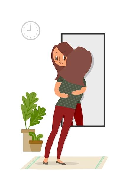 Selbstakzeptanz, frau, die mit ihrem spiegelbild im spiegel umarmt, selbstpflegekonzeptillustration. Premium Vektoren