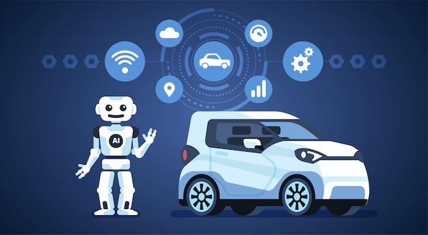 Selbstfahrendes auto mit roboter und ikonen Premium Vektoren