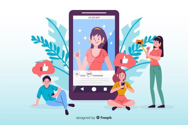 Selbstfotokonzept auf social media Kostenlosen Vektoren