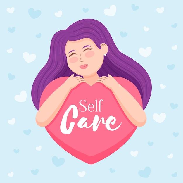 Selbstpflegekonzept mit frau Kostenlosen Vektoren