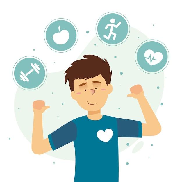 Selbstpflegekonzept mit mensch und aktivitäten Kostenlosen Vektoren