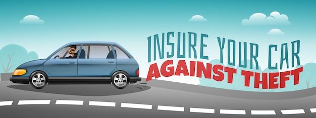 Selbstversicherung, die buntes horizontales plakat des diebstahls mit dem auto beschleunigt hinunter straße und warnungstext abdeckt Kostenlosen Vektoren