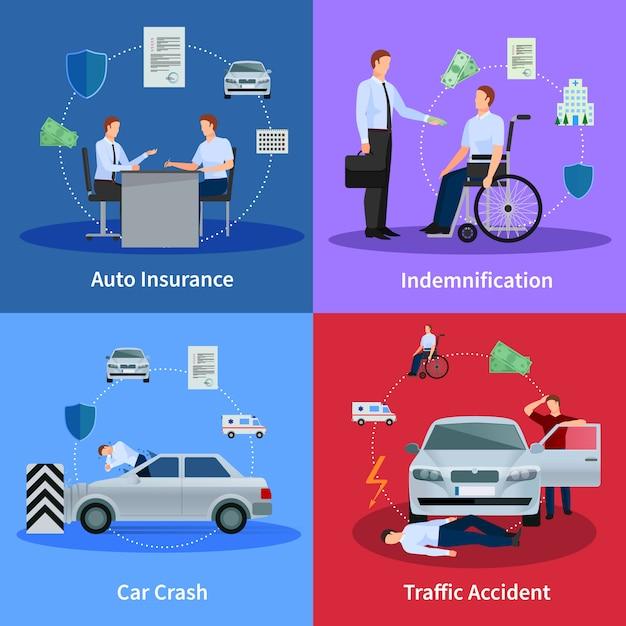 Selbstversicherungskonzept mit autounfallverkehrsunfall und entschädigung lokalisierte vektorillustration Kostenlosen Vektoren