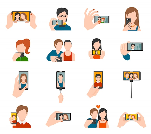 Selfie icons flach Kostenlosen Vektoren
