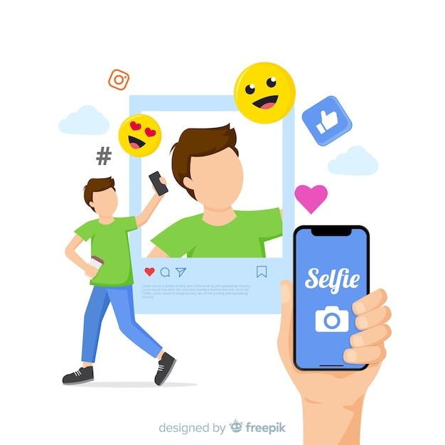 Selfie-konzept mit anwendung Kostenlosen Vektoren
