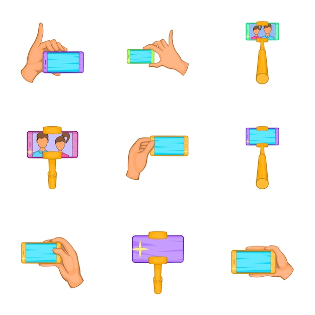 Selfie-set, cartoon-stil Premium Vektoren