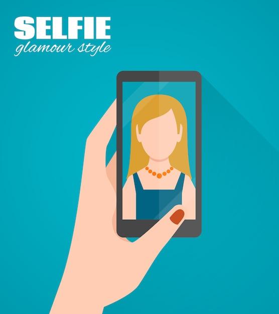 Selfie wohnung poster Premium Vektoren