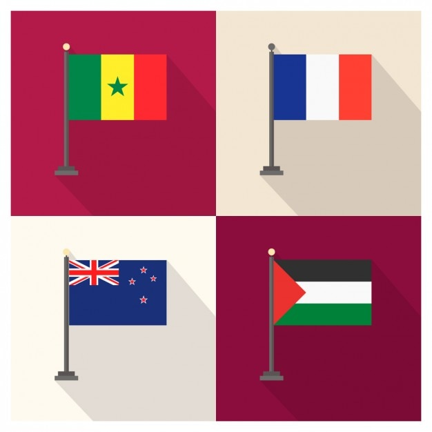 Senegal frankreich neuseeland und palestina flagge Kostenlosen Vektoren