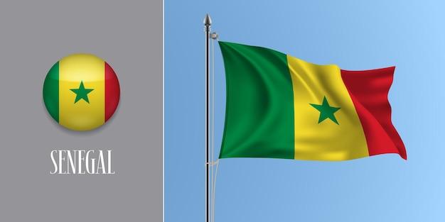 Senegal wehende flagge auf fahnenmast und rundem symbol. realistische 3d des kreisknopfes Premium Vektoren
