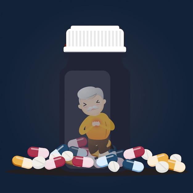 Senior mit tablettenfläschchen. Premium Vektoren