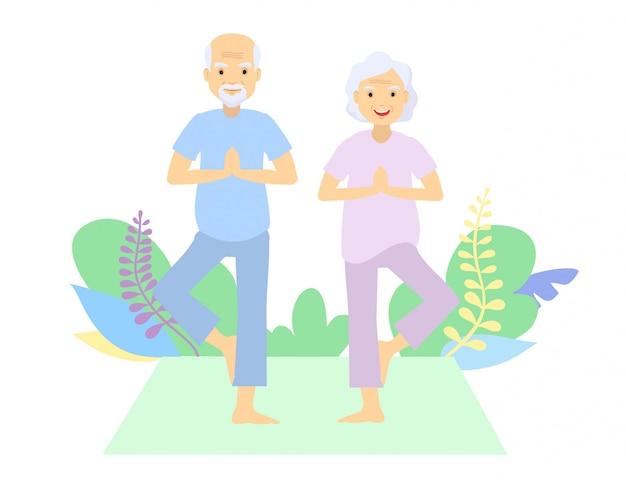 Senioren und gymnastik. älteres paar. großeltern, die übungen machen. sport. morgengymnastik. übender standort des yoga der älteren paare im freien. Premium Vektoren