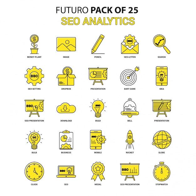 Seo analytics icon set. yellow futuro latest design-symbol packung Premium Vektoren