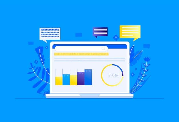 Seo auf dem computer. suchmaschinenoptimierung. der erste ort für eine website Kostenlosen Vektoren