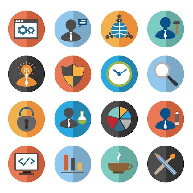 Seo icons set Kostenlosen Vektoren