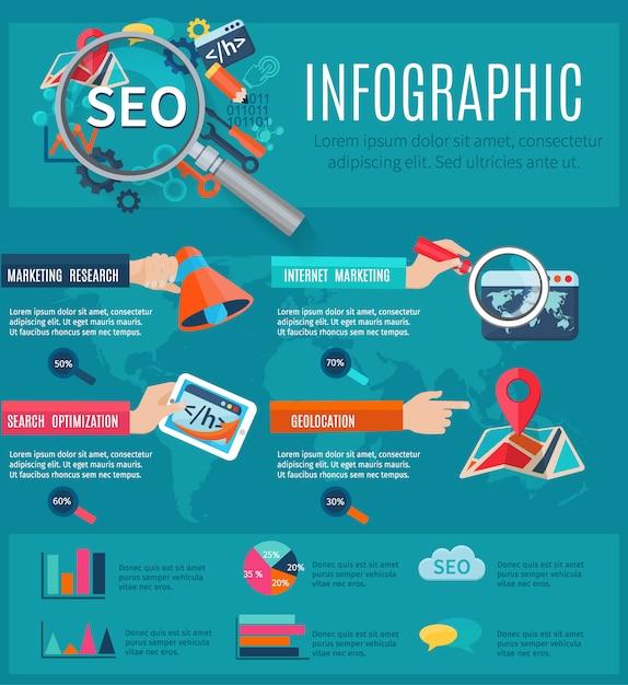Seo-infographics stellte mit den menschlichen händen ein, die programmiersymbolgegenstände und -diagramme halten Kostenlosen Vektoren